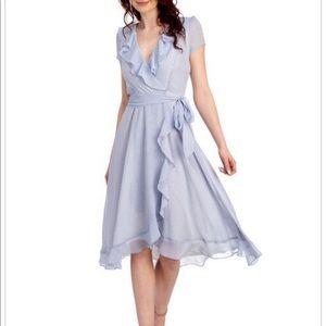 Gabby skye ruffles midi wrap dress